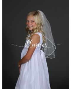 Pearl Trim First Communion Veil -3 Sizes Available