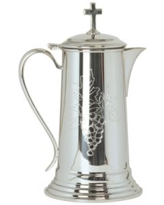 Pewter Church  Flagon with Engraved Grape Design