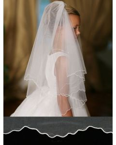 Plain First Communion Veil with Scalloped Cord Edging