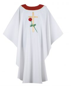 Pro Life Rose and Cross Clergy Chasuble