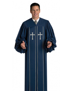 Pulpit Robe Cleric Blue with Corded Piping