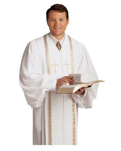 Pulpit Robe Wesley White with Gold Piping-Crosses