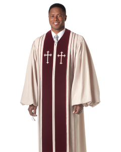 Pulpit Robe Bishop Beige with Crosses