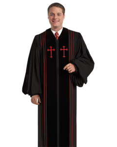 Pulpit Robe Bishop Black with Red Crosses