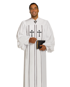 Pulpit Robe Cleric White with Black Piping-Crosses