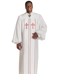 Pulpit Robe Cleric White with Red Piping Crosses