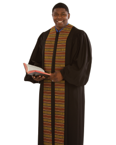 Pulpit Robe Heritage Black with Kente Panels