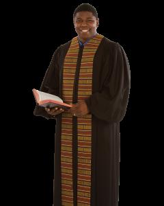Pulpit Robe Heritage Black with Kente Panels