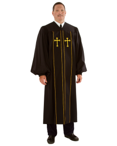 Pulpit Robe Pilgrim Black with Gold Piping-Crosses