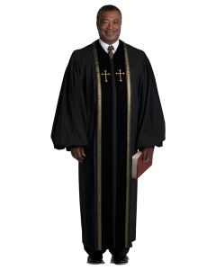 Pulpit Robe Wesley Black with Gold Piping-Crosses