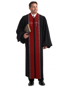 Pulpit Robe Wesley Black with Scarlet Velvet Panels