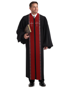 Wesley Pulpit Robe Black with Scarlet Velvet Panels