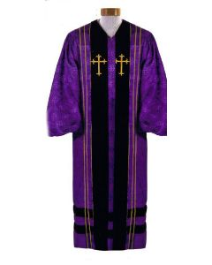 Custom Tailored Purple Brocade Pulpit Robe with Cross Symbols