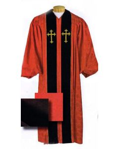 Custom Tailored Red Brocade Pulpit Robe with Cross Symbols