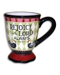 Rejoice in the Lord Rooster Christian Coffee Mug