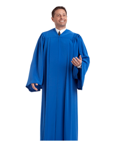 Sapphire Blue Choir Robe with Open Sleeves