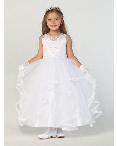 Satin First Communion Dress with Layered Ruffled Skirt