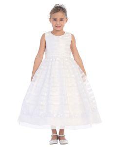 Satin Horizontal Stripes Overlay First Communion Dress