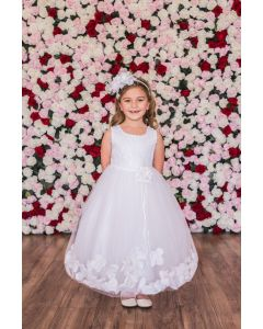 Sequin Top First Communion Dress with Petals
