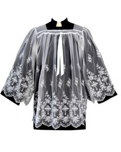 Sheer Nylon Embroidered Clergy Surplice