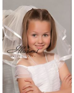 Short First Communion Veil with Satin Ribbon Trim-3 Sizes Available