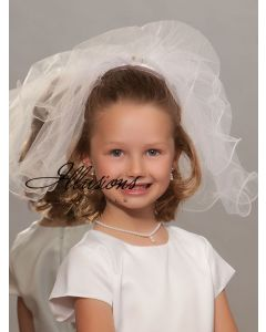 Short First Communion Veil with Wavy Trim-3 Sizes Available