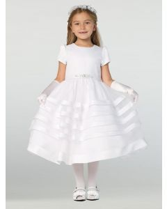 Short Sleeve Satin First Communion Dress with Satin Trim Skirt