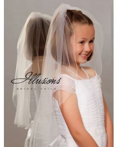 Single Tier First Communion Veil with Corded Edge-3 Sizes Available