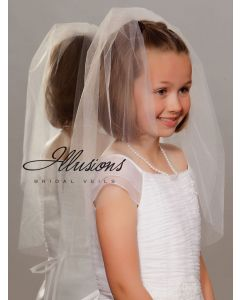 Single Tier First Communion Veil with Cut Edge-3 Sizes Available
