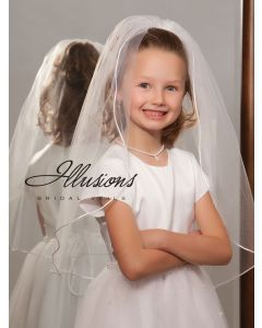 Single Tier First Communion Veil with Rattail Edge-3 Sizes Available
