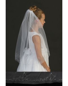 Single Layer First Communion Veil with Sequins