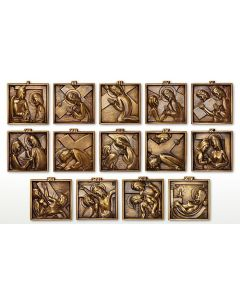 Solid Brass Stations of the Cross Set of 14