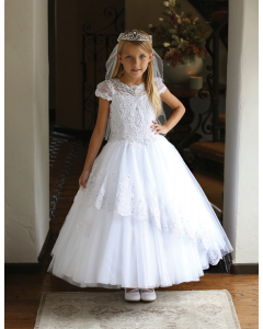 Gorgeous satin First Communion Dress with embroidered tulle bodice