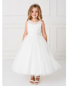 Holy Communion Dress with Illusion Neckline Lace Applique