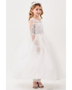 White First Communion Dress with Floral Lace