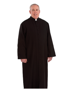 Tab Collar Black Cassock for Cathoic Priests