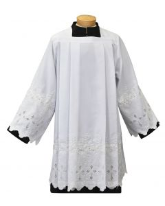 Tailored Priest Surplice with Embroidered Crosses