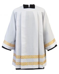 Tailored Priest Surplice with Gold Embroidered Bands