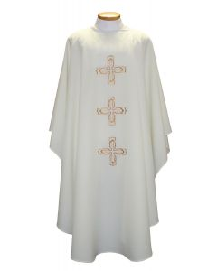 Triple Decorative Gold Cross Clergy Chasuble