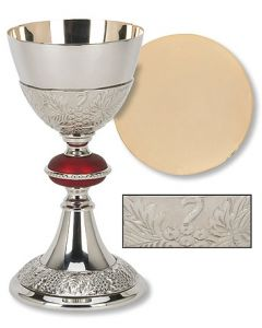Grape Patterned with Red Node Chalice and Paten Set