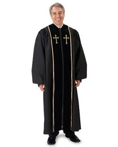 Pulpit Robe with Embroidered Gold Crosses