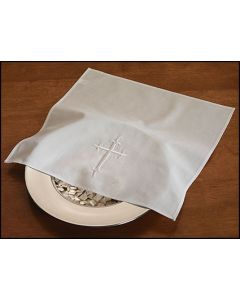 Embroidered Cross Bread Plate Linen Napkin Pkg 4