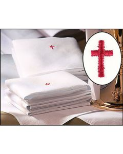 Linen Lavabo Towel with Red Cross Embroidery Pkg 12