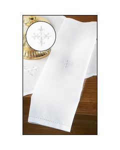 Linen Lavabo Towel with Embroidered Cross