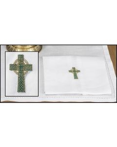 Green/Gold Celtic Cross Lavabo Towel