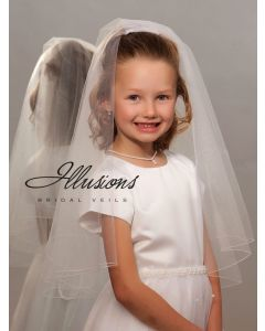 Two Layer First Communion Veil with Corded Trim-3 Sizes Available