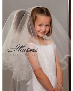 Two Layer First Communion Veil with Wavy Edge-3 Sizes Available