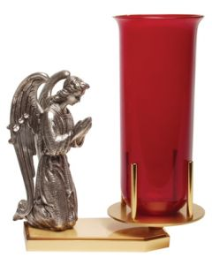 Two Tone Sanctuary Lamp Stand with Praying Angel