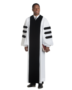 Velvet Geneva Robe White with Black Panels-Doctoral Bars