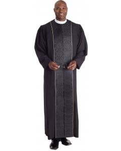 Vicar Pastor Robe Black with Black Brocade